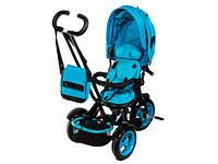 Детский трехколесный велосипед-коляска Neo 4 Air с фарой, Синий
