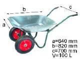 Тачка 2-х колесная строительная  с рамой обьем вода/песок 110/200 л 320 кг вес17кг