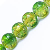 Бусины Стекло Кракле 10мм, Двухцветные, круглые, Цвет: Желто-зеленый A48, Диаметр: 10мм, Отв-тие 1мм, около 80шт/нить, (УТ0031258)
