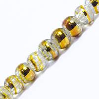 Бусины Стекло Кракле 4мм, Двухцветные, круглые, Цвет: Золотистый CD21, Диаметр: 4мм, Отв-тие 1мм, около 200шт/нить, (УТ0031231)