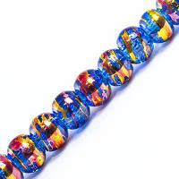 Бусины Стеклянные Волочильные, Круглые, Цвет: Сине-золотистый CD 6, Размер: 4мм, Отверстие 1.5мм, около 200шт/нить, (УТ0031163)