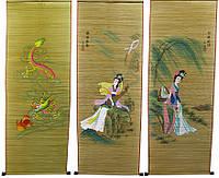 Панно из бамбуковой соломки с рисунком (40х110 см)