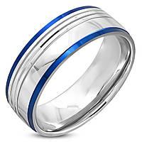 Кольцо из стали с синими полосами, в наличии  18.0, 20.5, 21.5, фото 1
