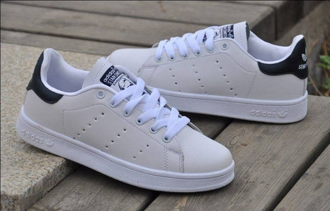 Кроссовки мужские  в стиле Adidas Stan Smith White Black, фото 2
