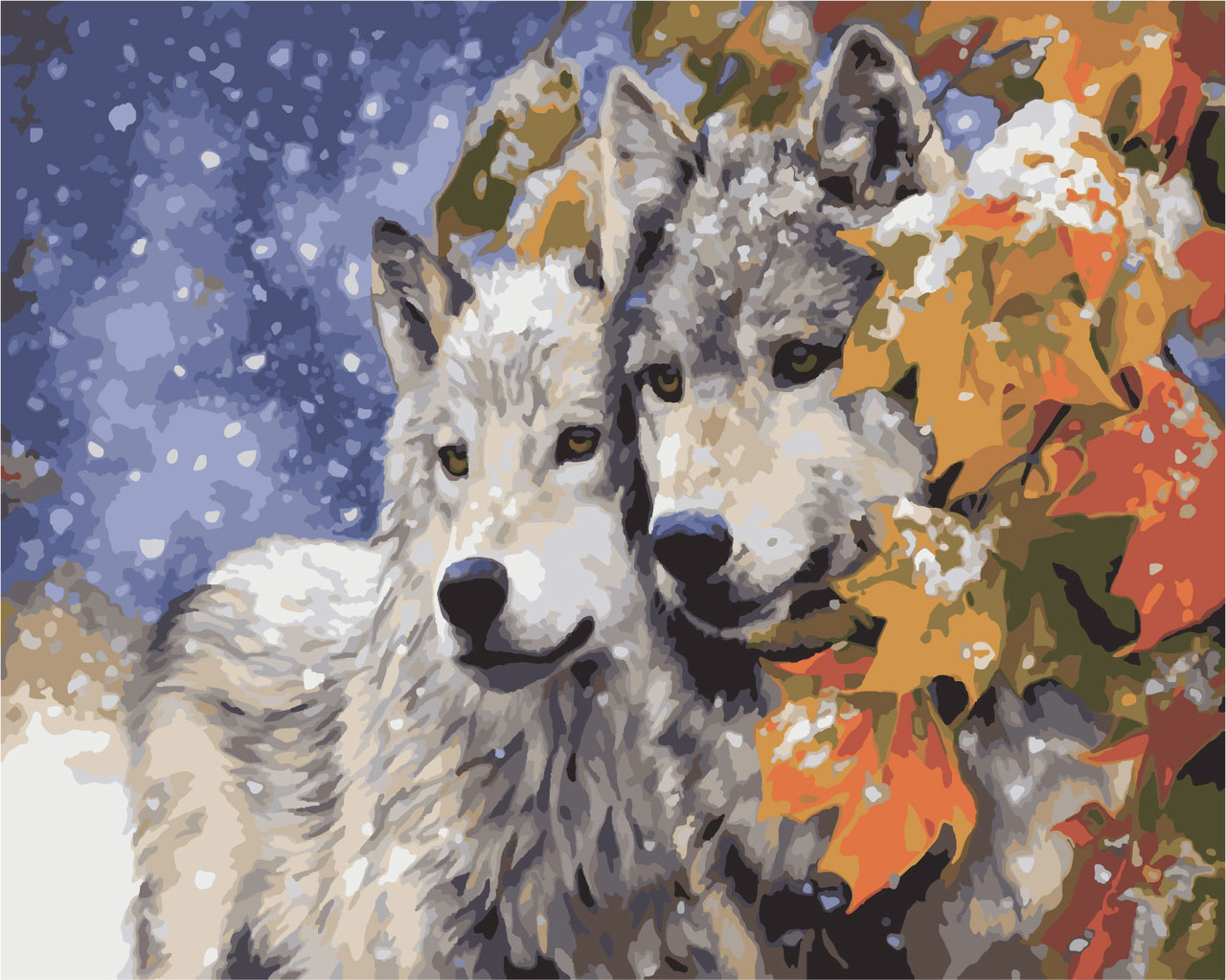 """Картина за номерами Ідейка """"Пара вовків"""" (KHO2434) 40 х 50 см (без коробки)"""