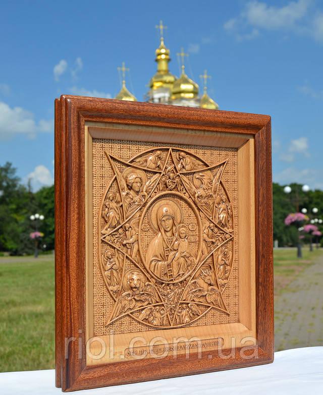 икона резная из дерева неопалимая купина