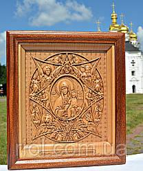 Різьблена дерев'яна ікона Божої Матері «Неопалима Купина»