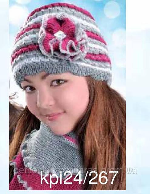 Зимний комплект Цветок: шапка и шарф-хомут  для девочки