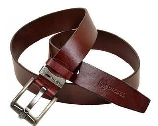 Мужской удобный кожаный ремень  C322 red (красный) 4 см