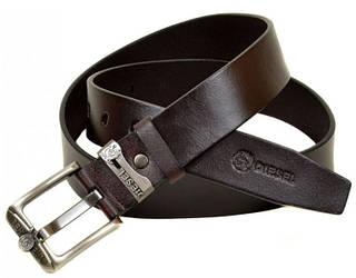 Мужской удобный кожаный ремень  C322 brown (коричневый) 4 см
