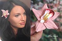 """Заколка цветок """"Персиковая орхидея с росписью"""". Авторские украшения для волос, фото 1"""