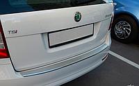 Накладка на бампер с загибом Skoda Octavia II A5 combi FL 2009-