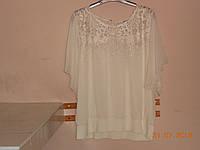 Блуза из шифона с гипюровой кокеткой и напуском, фото 1