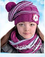 Комплект зимний: шапка с шарфом-хомутом  для девочки, фото 1