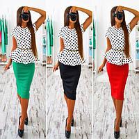 Костюм блузка с баской в горошек и юбка миди разные цвета SMb526