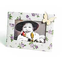 Рамка для фото текстильная 10*15 см Сереневая розочка