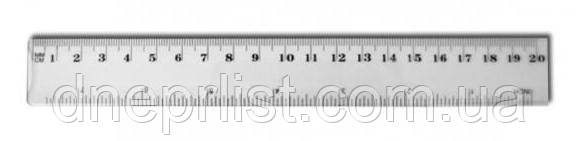 Линейка пластмасовая, 20 см, прозрачная