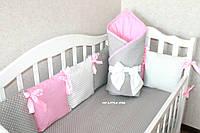 Комплект в кроватку серо-розовый