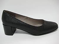 Кожаные оригинальные туфли на широком каблуке ТМ Камея