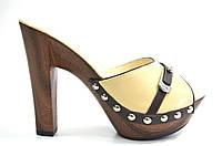 Сабо женские Berkonty бежевые натуральная кожа на каблуке
