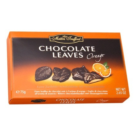 Конфеты Maitre Truffout Chocolate Leaves Orange, 75 г