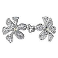 Серьги гвозди серебряные Цветочки 310300