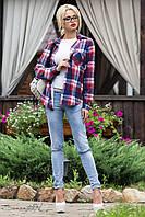 Стильная женская рубашка в клетку с длинным рукавом