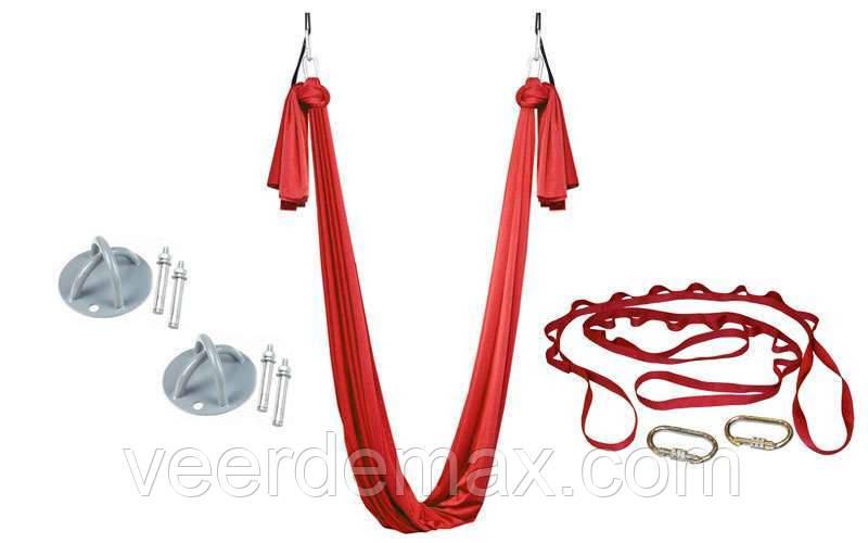 Гамак йога (Fly Yoga) . крепления -2шт.,нейлон,L-5М,b-2.8м красный.