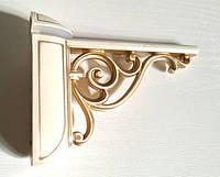 """Полкодержатель GU-W8050 """"Пеликан"""" для деревянных и стеклянных полок, слоновая кость с золотой патиной, фото 1"""