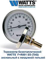 Термометр WATTS F+R801 SD (TAS) биметаллический аксиальный с погружной гильзой