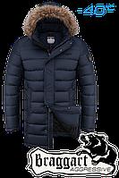 Куртка зимняя мужская на меху удлиненная Braggart Aggressive - 2372A темно-синяя