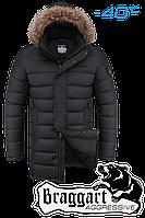 Куртка зимняя мужская на меху удлиненная Braggart Aggressive -  2372M черная