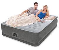 Надувная велюр-кровать Intex со встроенным электронасосом 203х152х46 см (64414)