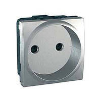 Розетка без заземления cо шторками, алюминий Schneider Electric Unica Top MGU3.033.30