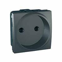 Розетка без заземления cо шторками, графит Schneider Electric Unica Top MGU3.033.12