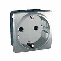 Розетка с з/к cо шторками, алюминий Schneider Electric Unica Top MGU3.037.30