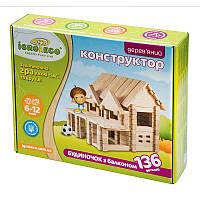 Конструктор из дерева Домик с балконом Игротеко