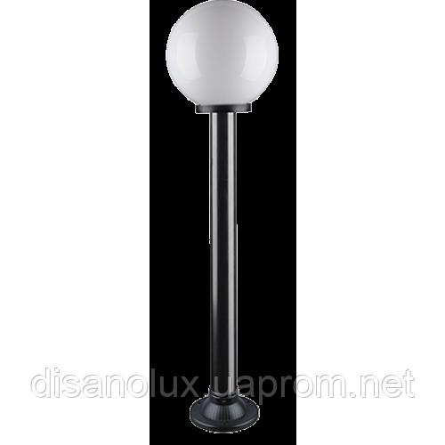 """Светильник парковый уличный """"Столб"""" 1м с базой для столба и шар φ250мм белый IP44"""