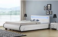 Елегантная кожаная кровать BILBAO 180х200 см. с LED подсветкой