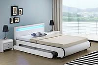 Двуспальная кровать BILBAO из екокожи 140х200 см. LED