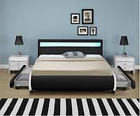 Кровать кожаная двуспальная BILBAO 180х200 см. LED