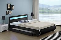 Кровать кожаная двуспальная BILBAO 140х200 см. LED, фото 1