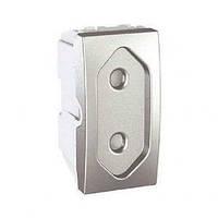 Розетка без заземления с защитными шторками (1 модуль), алюминий Schneider Electric Unica Top MGU3.031.30