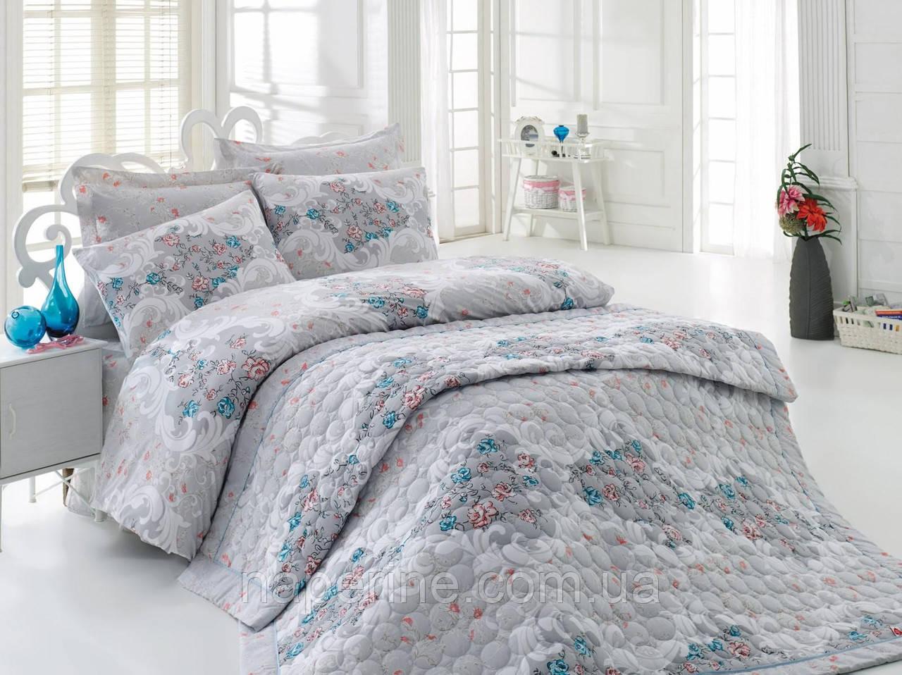 Постельное бельё евро со стёганым летним одеялом Cotton box Marlin