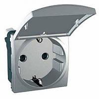 Розетка с з/к, шторками и крышкой, алюминий Schneider Electric Unica Top MGU3.037.30TA