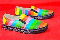 Яркие кожаные слипоны Rainbow