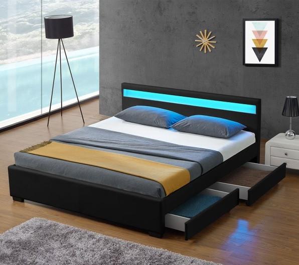 Кровать LYON из екокожи 140х200 см. с подсветкой