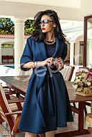 Женское демисезонное темно синее пальто