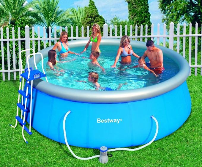 Надувний басейн BestWay (фільтр-насос+сходи+набір для прибирання+килимок+кришка) (57148)