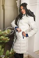Молочное стеганое пальто